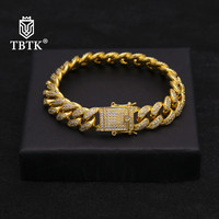 TBTK Paved Full Bling Clear Zircon Stone Triple Lock Bracelet Gold Box Clasp Connecting Bracelet Luxury Jewelry Punk Style Gift