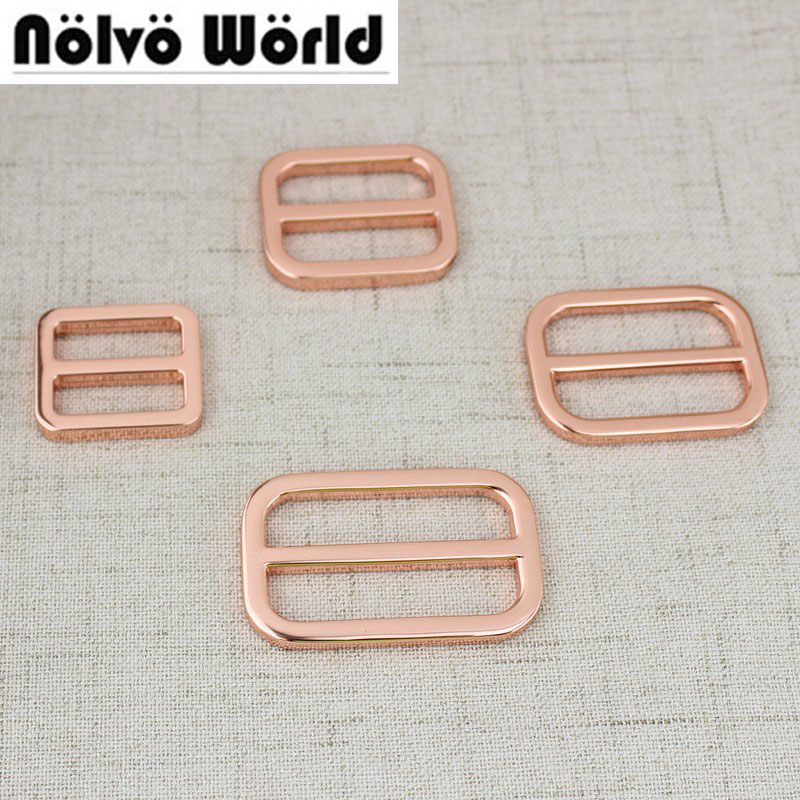 10pcs 50pcs 20mm 25mm 32mm 38mm Rose gold Bags Handbags long shoulder strap Webbing adjustment buckle Suspenders Slider Welded