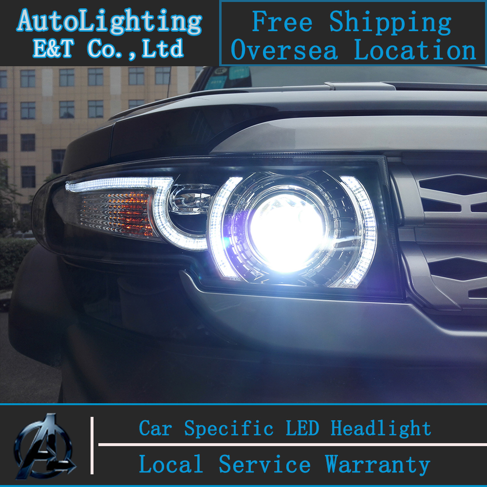 Car Styling for Toyota FJ Cruiser headlight assembly 2006-2015 LED Headlight+Grille Angel eye led drl H7 with hid kit 2 pcs. for toyota fj cruiser 2007 13 double