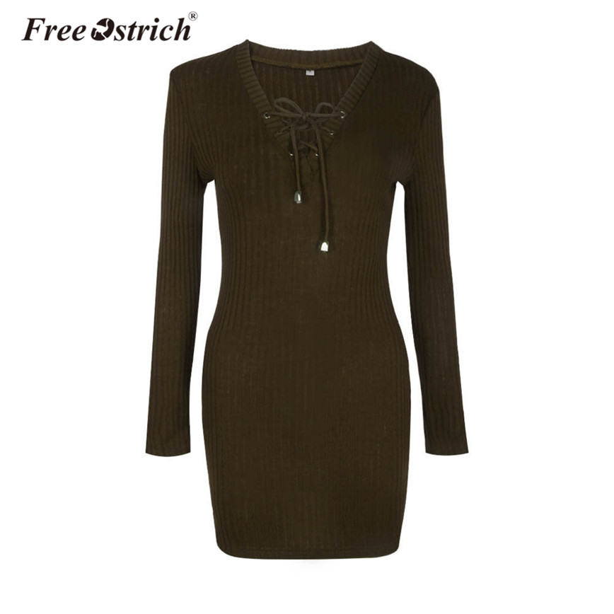 Free Ostrich Winter Knitted Dress Women Sheath Lace Up V-Neck Casual Long Sleeve Solid Elegant Mini Dress vestidos mujer D35