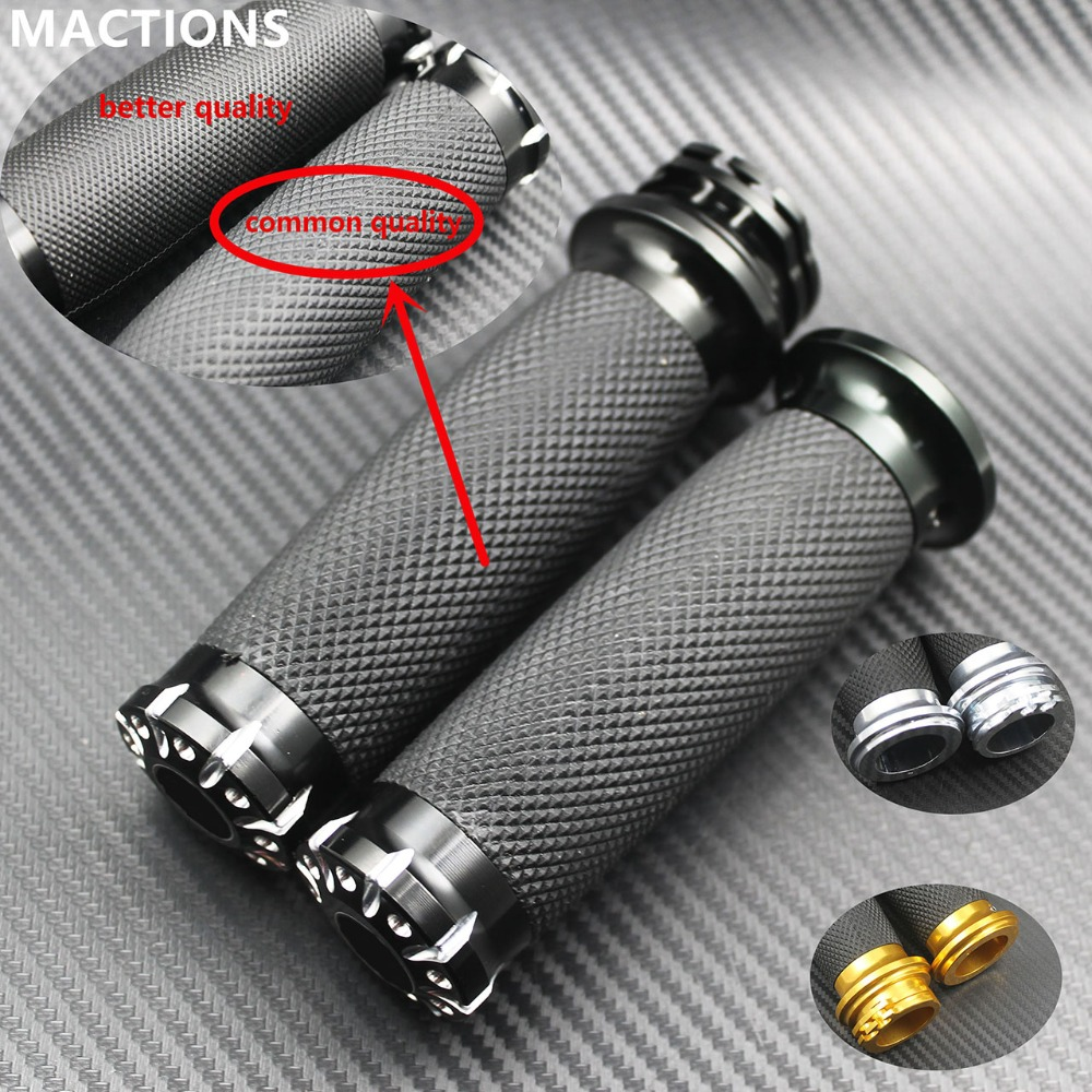 Motorcycle 1.25'' Rubber Hand Grips Handle CNC Handlebar For Harley Sportster 883 1200 Iron XL VRSC Touring Dyna Softail Custom