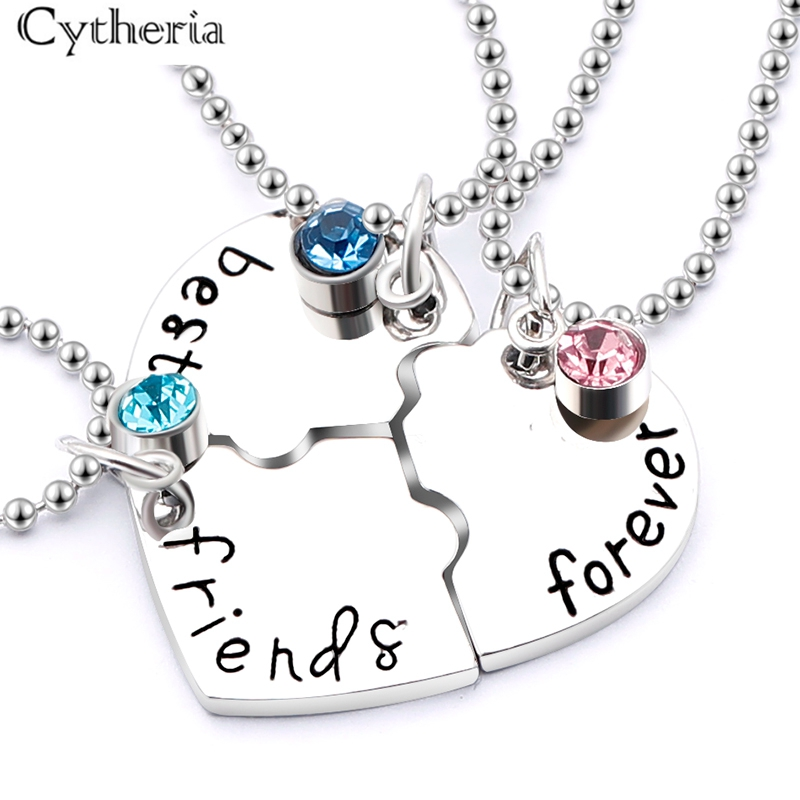 3pcs set quot best friend forever quot BFF Friend Necklace Set 3 Pieces Heart Shape Puzzle Hand Stamped Bead Friendship Jewelry in Pendant Necklaces from Jewelry amp Accessories