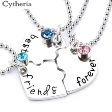 3pcs/set best friend forever  BFF Friend Necklace Set 3 Pieces Heart Shape Puzzle Hand Stamped Bead Friendship Jewelry