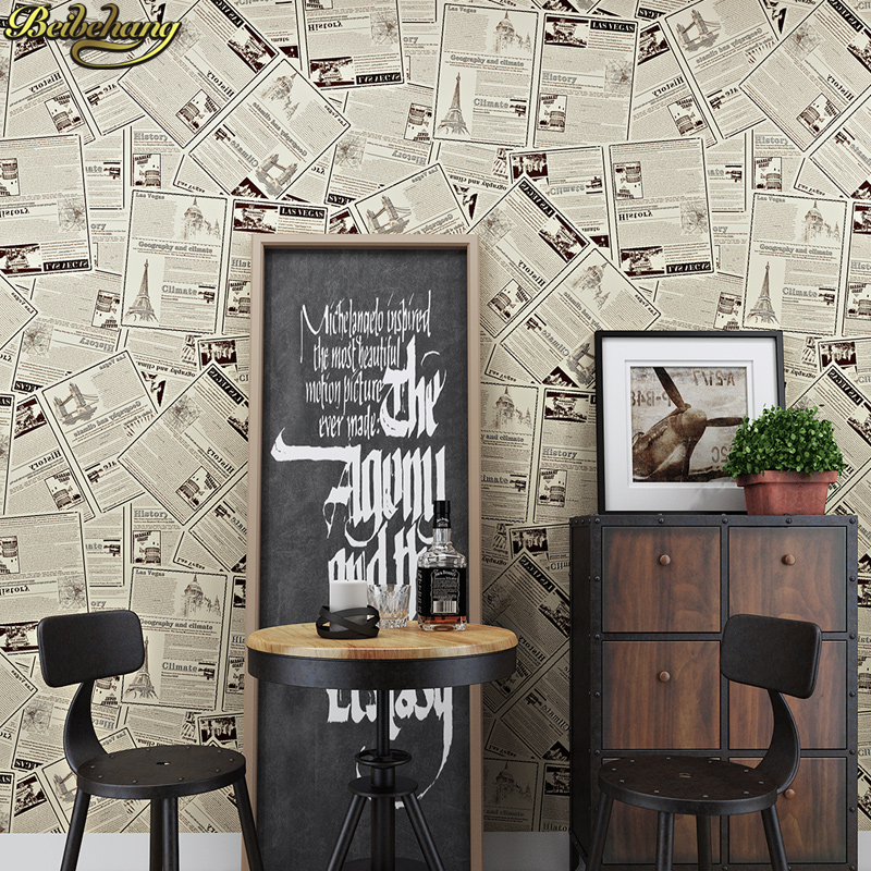 Old Study Room Design: Beibehang Papel De Parede Vintage English Old Newspaper 3d