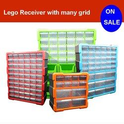 Bloques de construcción juguetes Lego gran capacidad mano niños caja de almacenamiento de plástico transparente organizador caja puede ajustar el espacio de almacenamiento