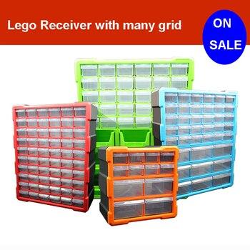 Lego jouets de grande capacité, blocs de construction main de rangement pour enfants mallette de rangement en plastique transparent peut ajuster l'espace de rangement