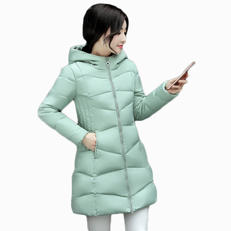 2017 NEW HOT WOMEN WINTER JACKER MID-LENGTH PLUS SIZE HOODED THICKEN WARM FEMALE PARKAS COTTON WADDED COAT HIGH QUALITY ZL584