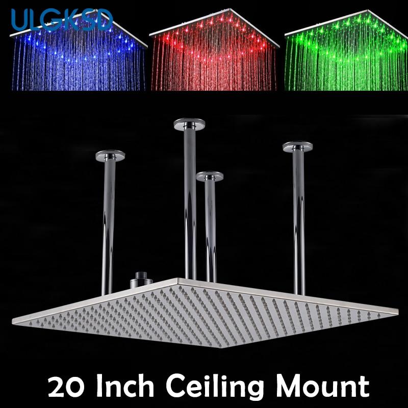 Ulgksd Насадки для душа светодиодный потолочное крепление 20 дюймов дождь ванны смеситель для душа Аксессуары для ванной комнаты глав Замена