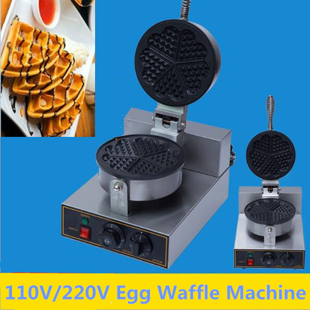Commercial 220V/110V Five Heart Egg Waffle Machine Home Use Waffle Maker Oven Electric Pancake Breakfast Scone Snack