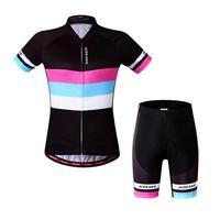 Summer Women Cycling Jersey Set T Shirts Short Sleeve 3D Gel Padded Shorts Biking Bicycle Clothing Reflective Quick Dry