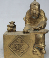 243@g++5 Chinese Folk Brass Wealth YuanBao Cast accounts Old Man Seat Statue Sculpture