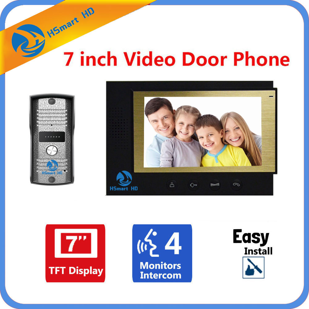 7 inch TFT LCD Monitor Video Door Phone Doorbell Intercom System 700TVL Waterproof Rain Cover Night Vision Camera Doorphone 7 inch monitor video door phone intercom doorbell kits 1v6 video doorbell doorphone intercom system night vision alloy camera
