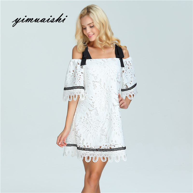 314dac6e ... Fashion Women Elegant Vintage sweet lace white Dress Stylish Sexy Slash  Neck Casual Slim Beach Autumn ...