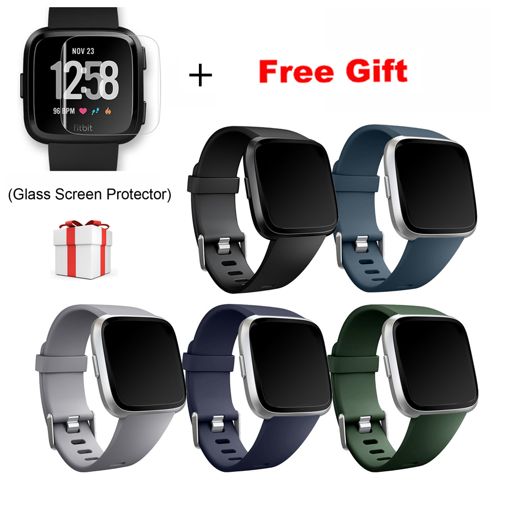 Replacement-Band Bracelet-Accessories Glass-Screen-Protector Versa-Strap Silicone
