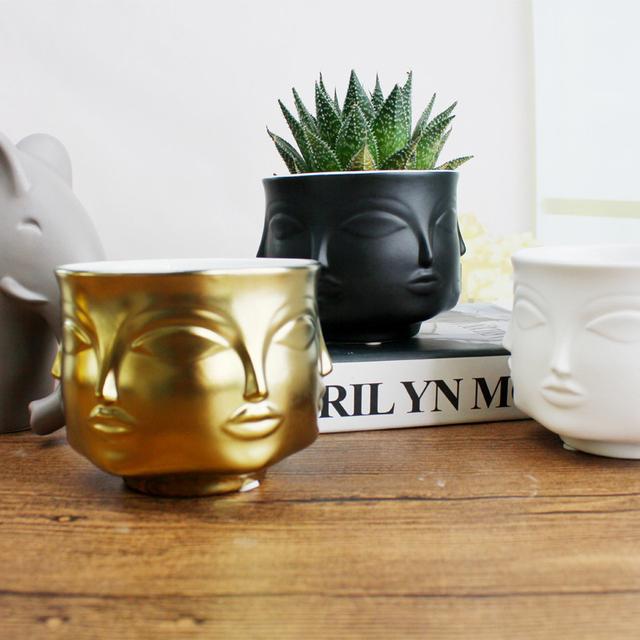 Face Shape Designs Ceramic Vase Porcelain Flower Pot Home Decoration Accessories Planters Golden Black White Tools