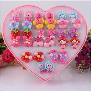 Earrings Jewelry Ear-Clip Painless Baby-Girl Children Pierced-Alloy Cartoon 5pcs/Lot