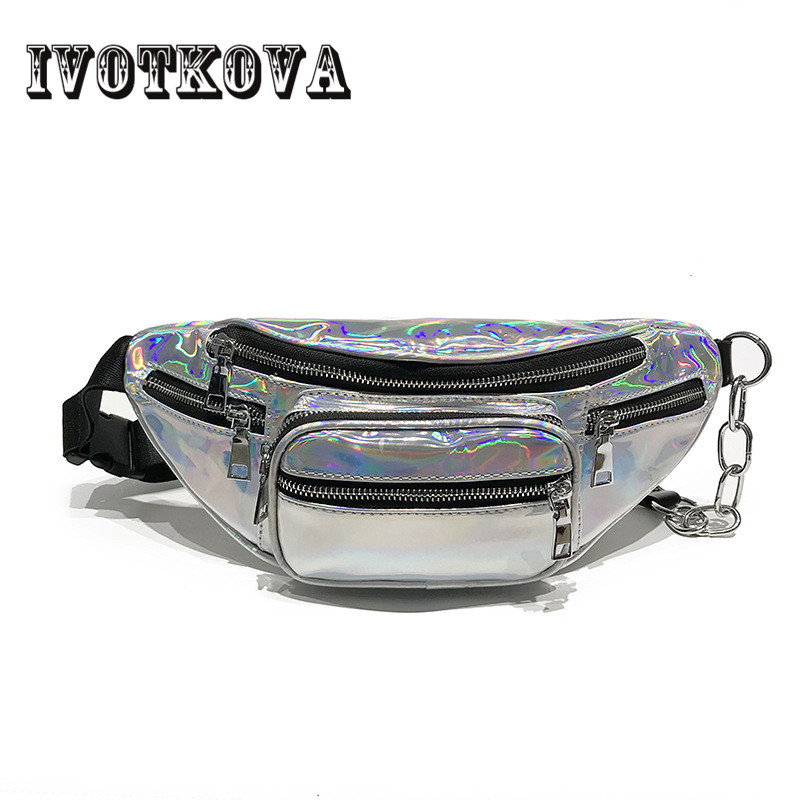 IVOTKOVA New 2018 Women Clear Waist Bag Belt Bag Brand Fanny Pack Laser Funny Pack Shoulder Pouch Belt Bag Chest Bag clear wood handle bag with sequin pouch