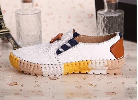 Boys shoes flat single shoes autumn leather shoes for boys flats gentlemen leisure kids shoes wholesale black white blue brown