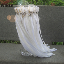 50pcs/lot White Lace wedding ribbon wands  with sliver bell for decoration