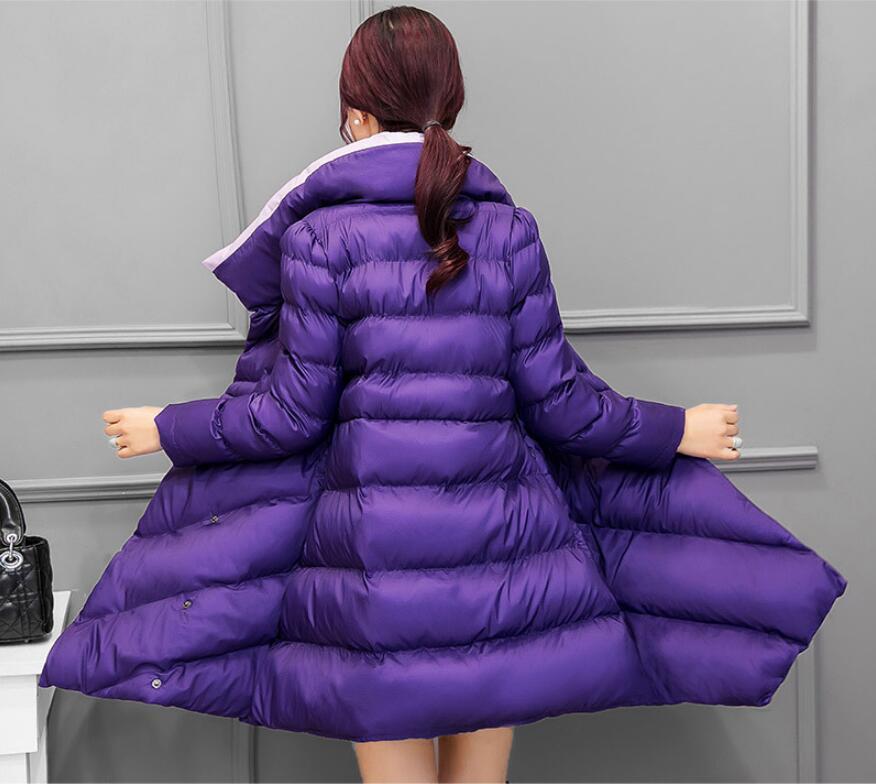 Ceinture Col Le purple Manteau Montant Manches Bas black Coton Longues Red Outwear À green Veste Mince Hiver Vers Chaud 2018 Femme R374 Femmes Avec qgwvUU