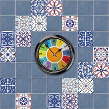 20cm*20cm Blue Tiles Anti-skid Waterproof Sticker Living Room Kitchen Floor Stickers