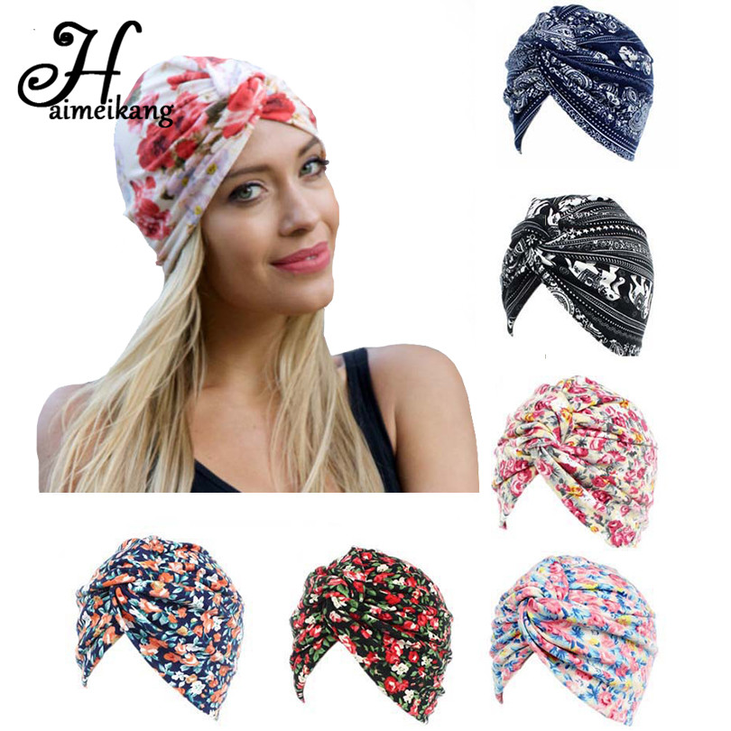 Women Lady Multi-function Head Scarf Bandana Elastic Floral Headband Wrap Hat