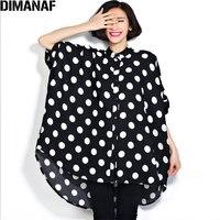 DIMANAF Women Plus Size Blouse Chiffon 2018 Summer Polka Dot Large Size Tops Oversize Female Casual