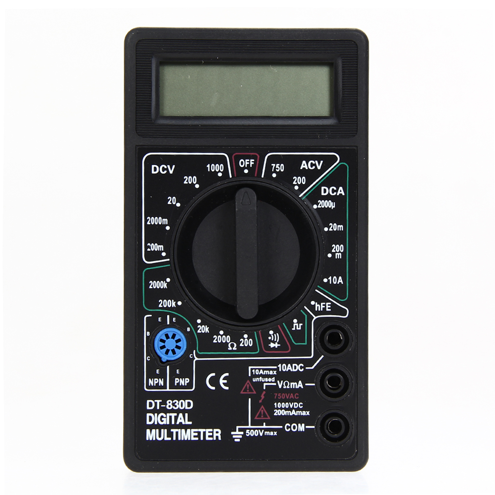DT830D Multimeter Digital Voltmeter Ammeter Ohm Electrical Multi Tester LCD Display Overload Protection