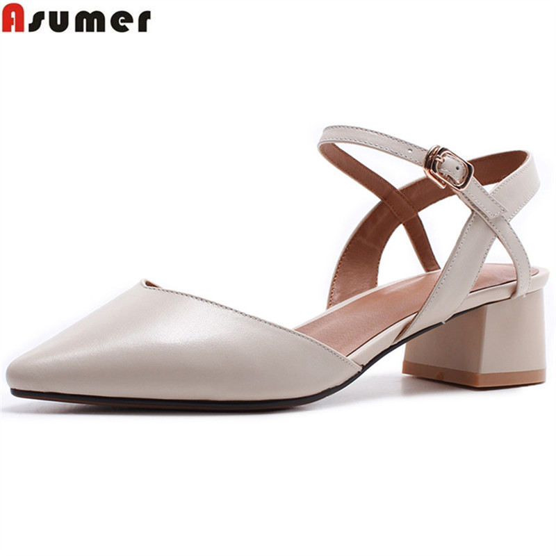 ASUMER 2018 fashion spring summer shoes woman pointed toe square heel buckle pumps women shoes med heels genuine leather shoes summer women high heel shoes women pumps genuine leather pointed toe buckle crystal women square heel fashion party shoes