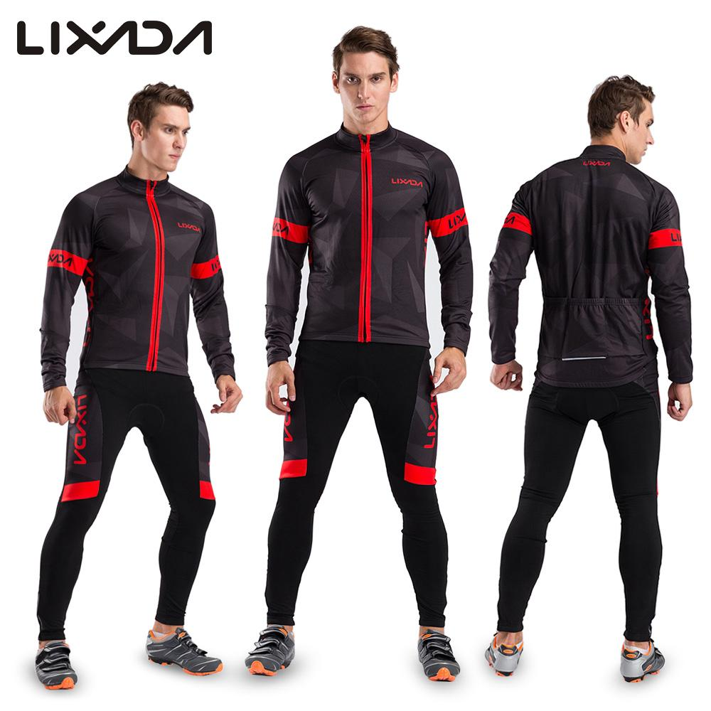 Lixada Men s Winter Thermal Fleece Cycling Clothing Set Long Sleeve Cycling  Jersey Coat Jacket with 3D Padded Pants Trousers-in Cycling Sets from  Sports ... 3b192302a