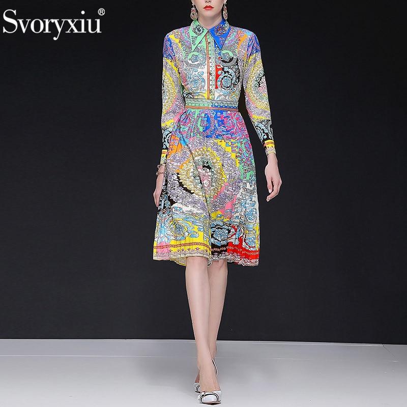 Svoryxiu 2019 New Spring Summer Runway Pleated Dress Women s Long Sleeve Beading Vintage Colour Print