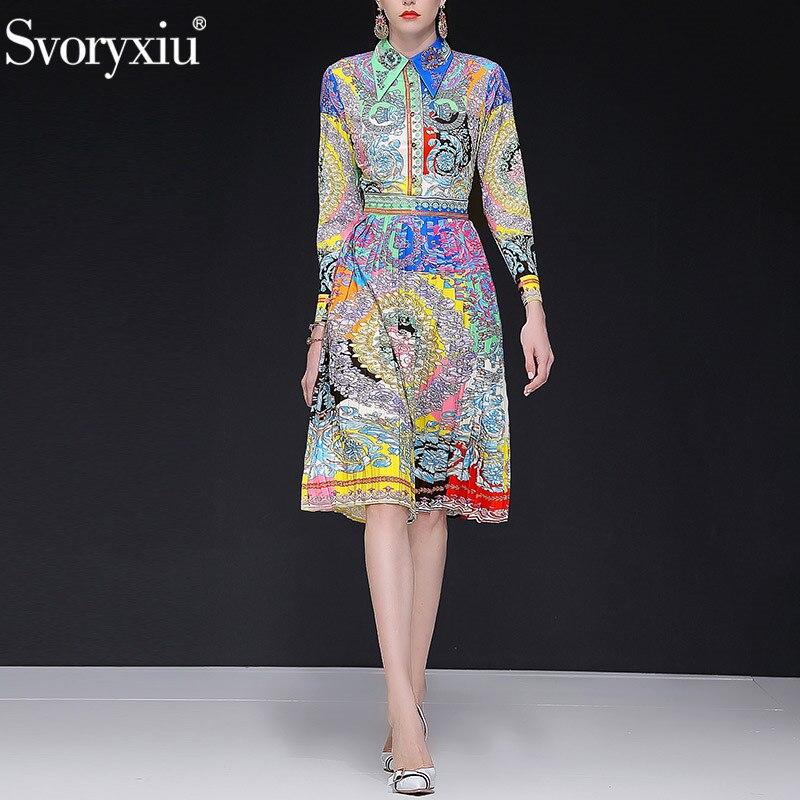 Svoryxiu 2019 ฤดูใบไม้ผลิใหม่ฤดูร้อนรันเวย์ชุดจีบผู้หญิงแขนยาวประดับด้วยลูกปัด Vintage สีพิมพ์ชุดปาร์ตี้-ใน ชุดเดรส จาก เสื้อผ้าสตรี บน   1