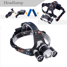 2X18650Batteris+ XML T6 Headlamp 6000 Lumens 4 Mode LED Camp lamp Led Rechargeable Hunting Spotlight Lamp Head Light