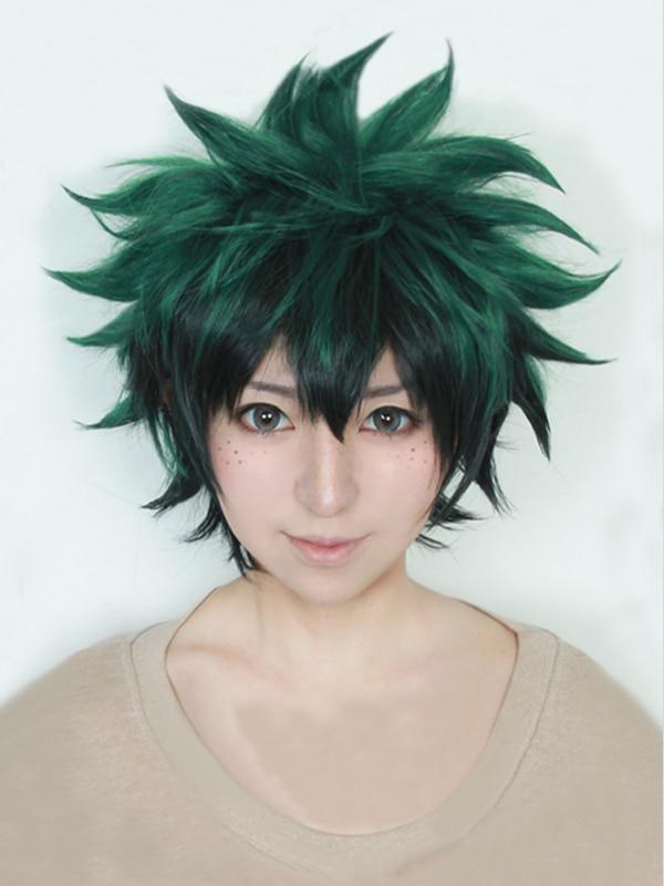 Meu boku nenhum herói academia izuku midoriya curto verde preto resistente ao calor cosplay traje peruca