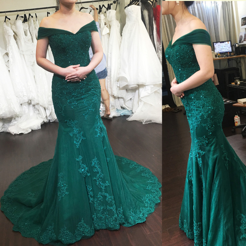 robe de soiree Custom Made Beaded V-Neck Prom   Dresses   Mermaid Sexy Off the Shoulder Cheap Long   Dress   for   Evening     Dresses