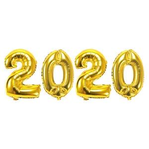 Image 4 - 4Pcs 2020 Aantal Folie Ballonnen Zilver Digit Air Ballonnen Kerstversiering Gelukkig Nieuwjaar 2020 Globos Nieuwjaar Decor
