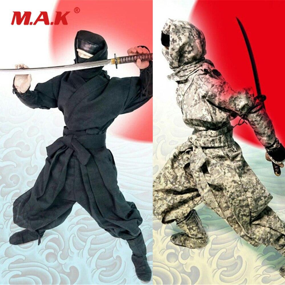 1 6 Male Figure Clothes Set Japanese Black Samurai Ninja Costume Clothing Sets Black Camouflage for