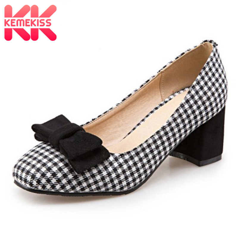 KemeKiss Size 32-43 Ladies High Heel Shoes Women Plaid Bowtie Thick Heels Pumps Office Party Vintage Wedding Female Footwears taoffen size 32 48 sexy women bowtie round toe high heel shoes women ankle strap thick heels pumps party dress women footwears