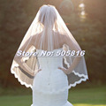 2016 New White or Ivory Fingertip Length 1 Tier Lace Bridal Veil with Metal Comb 20151026-111