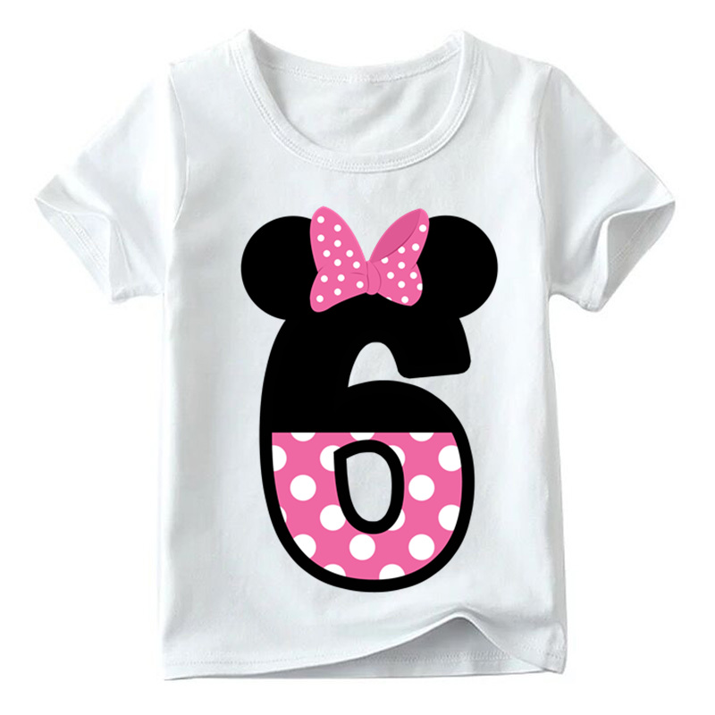 Baby Boys/Girls Happy Birthday Letter Bow Cute Print Clothes Children Funny T shirt,Kids Number 1-9 Birthday Present,HKP2416 12