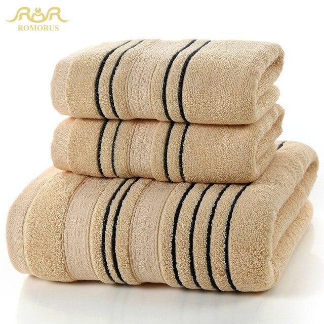 Romorus 100 Cotton Towel Sets Soft White Brown Gray Beach Bath Towels For S Brand
