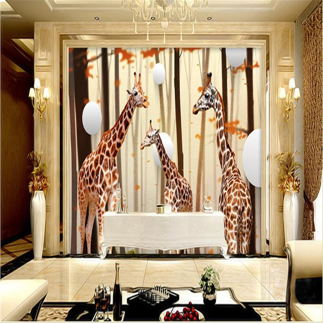 Budget Moderne Fond Grande Peinture Décor Girafe Cercle