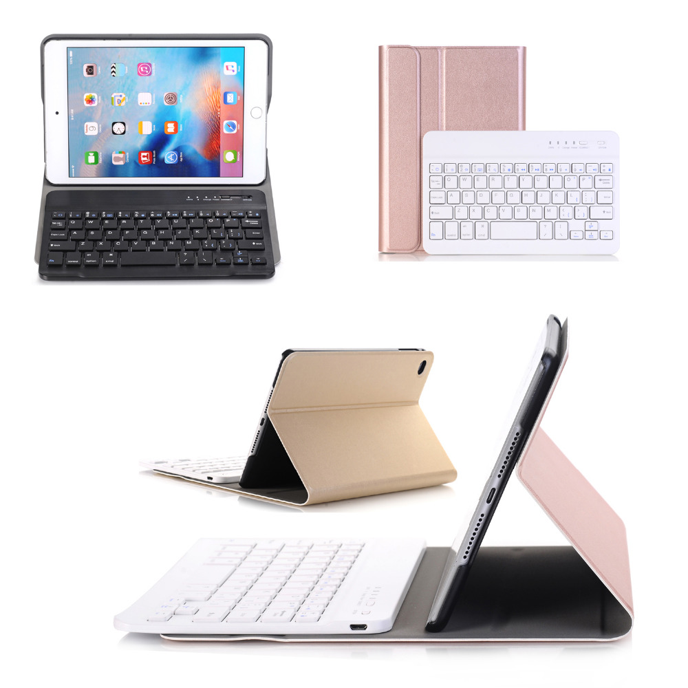 Russian/Hebrew/Spanish Removable Wireless Bluetooth 3.0 Keyboard Stand PU Leather Case Cover For Apple iPad Mini 4 Mini4 Tablet removable bt keyboard case cover stand for lenovo k3 lynx 11 6