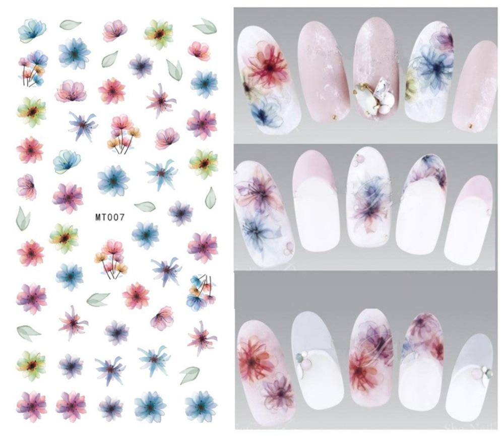 1 Sheet Spring Flower 3d Decals Purple Blooming Flower Nail Transfer