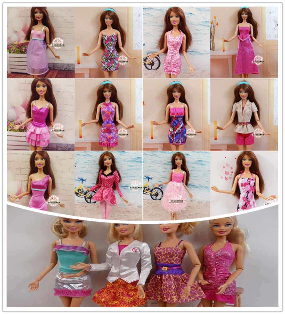 Factory Wholesale 100pcs lot Original Brand Doll Clothing Outfits Fashionable Dress For Barbies Doll Casual Dress
