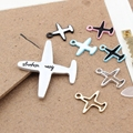 New Arrived Alloy drop oil Asian Gold/Silver Tone Cartoon Aircraft/Airplane Shape Jewelry Charms Diy Necklace/Hair accessory