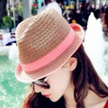 Free shipping fashion Hollow jazz hat straw  flanging hat sun hat