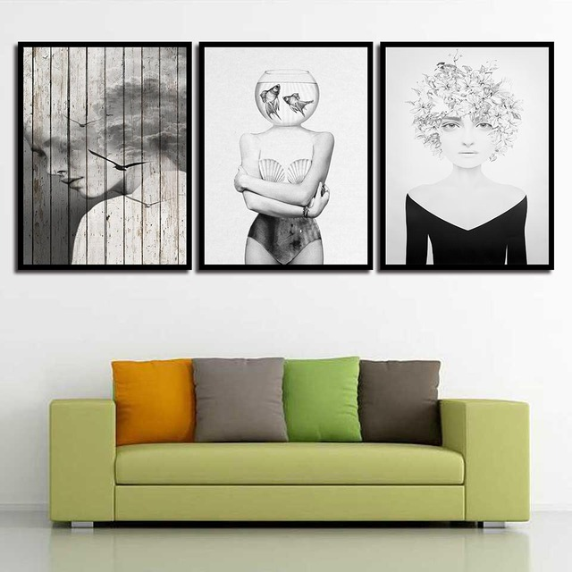 Enjoyable Us 1 9 40 Off Nordic Watercolor Gray Girl Poster Art Print Canvas Black White Painting For Living Room Scandinavian Decor Wall Pictures Framed In Gmtry Best Dining Table And Chair Ideas Images Gmtryco