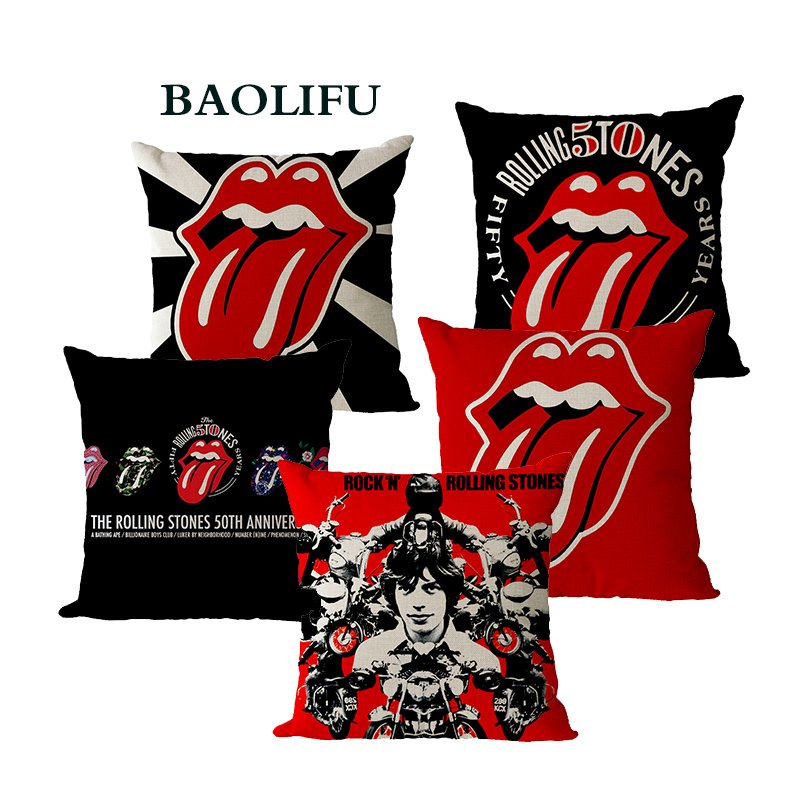 BAOLIFU Traditional Blues Rock Band The Classic Rolling Stones PatternCushion For Sofa Car Chair Throw Pillows Home Decor B076