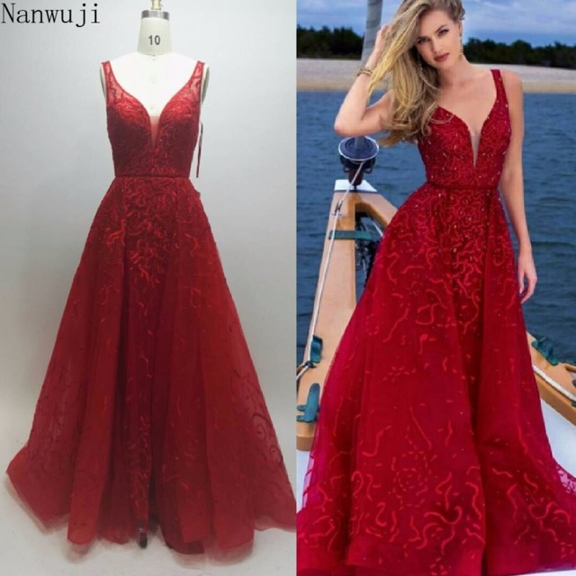 2018 Real Luxury V Neck Vestido de festa Robe De Soiree Feather Long Sleeve Tulle Party Evening Dresses 2018 Burgundy